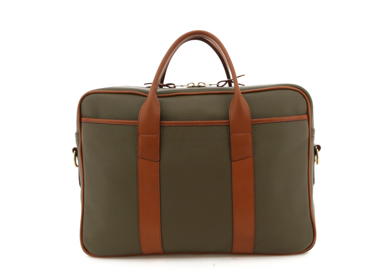 Moss Green Smooth Tumbled Commuter Brief B