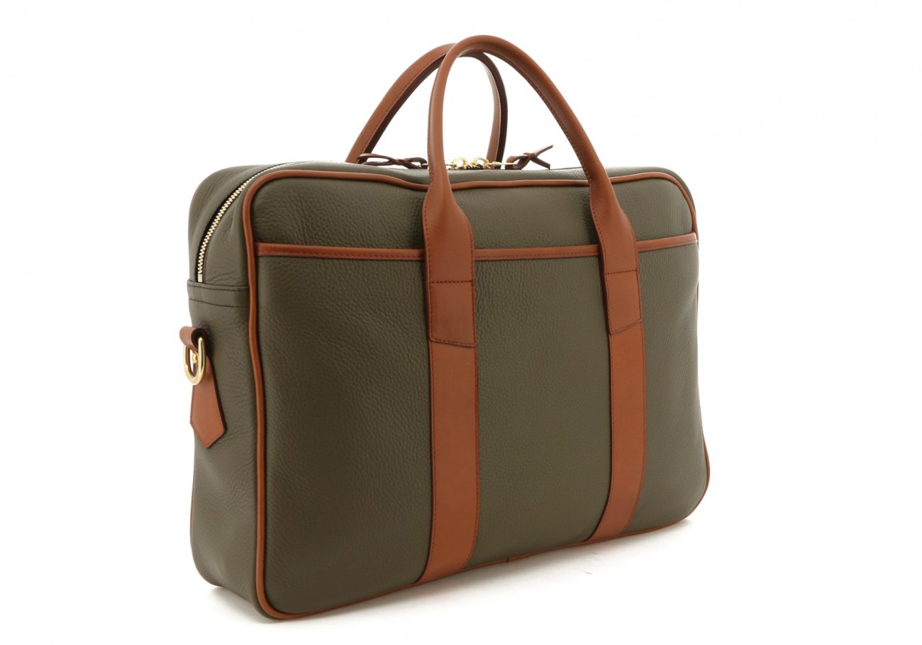 Moss Green Smooth Tumbled Commuter Brief C