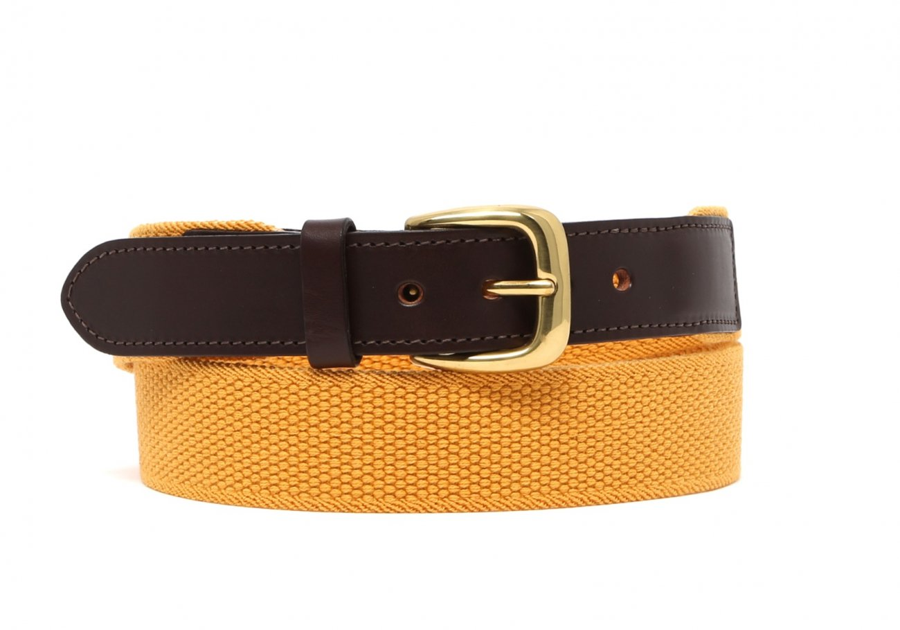 Mustard Woven Stretch Belt Brass Buckle3