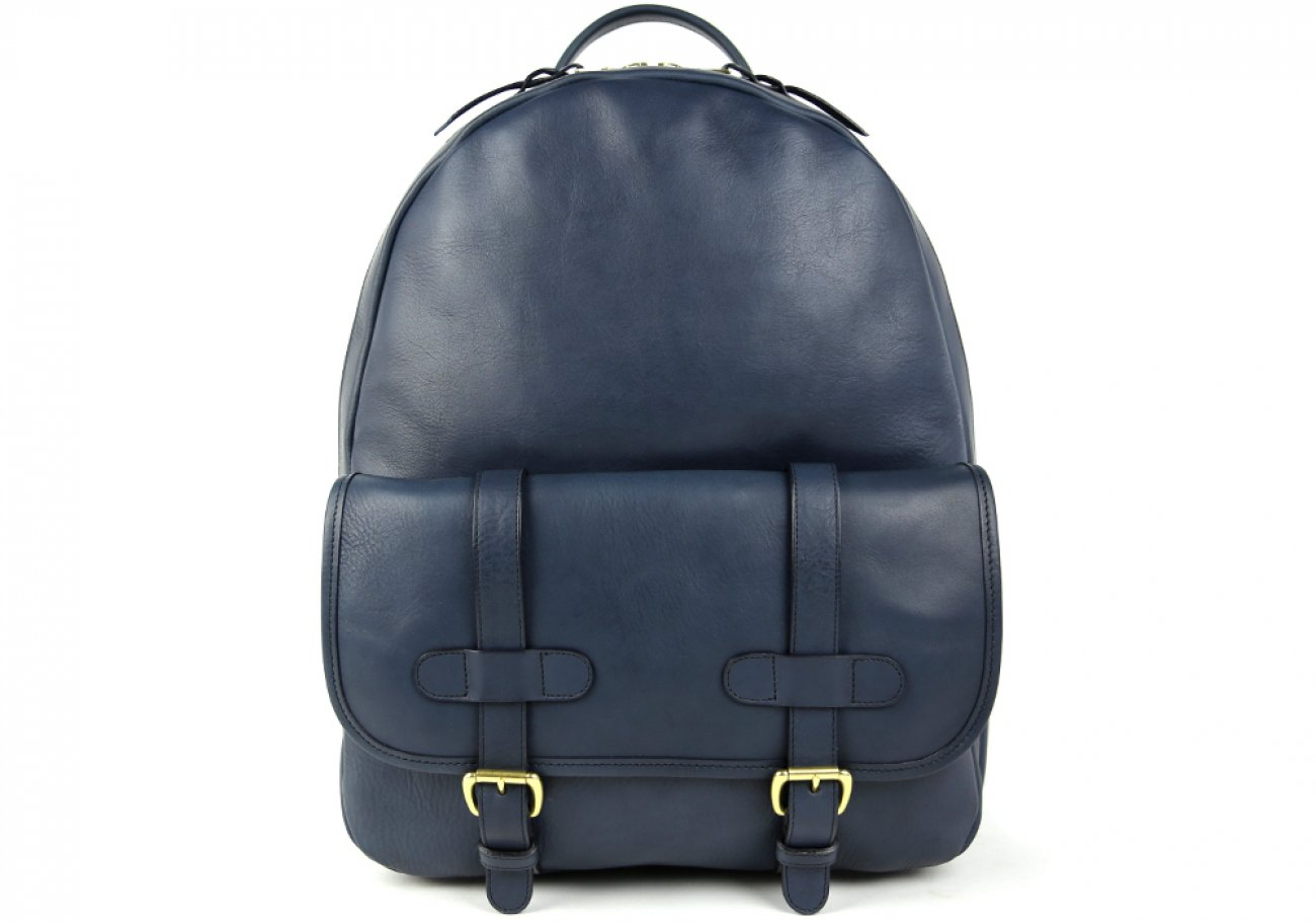 Navy Zipper Leather Backpack 1