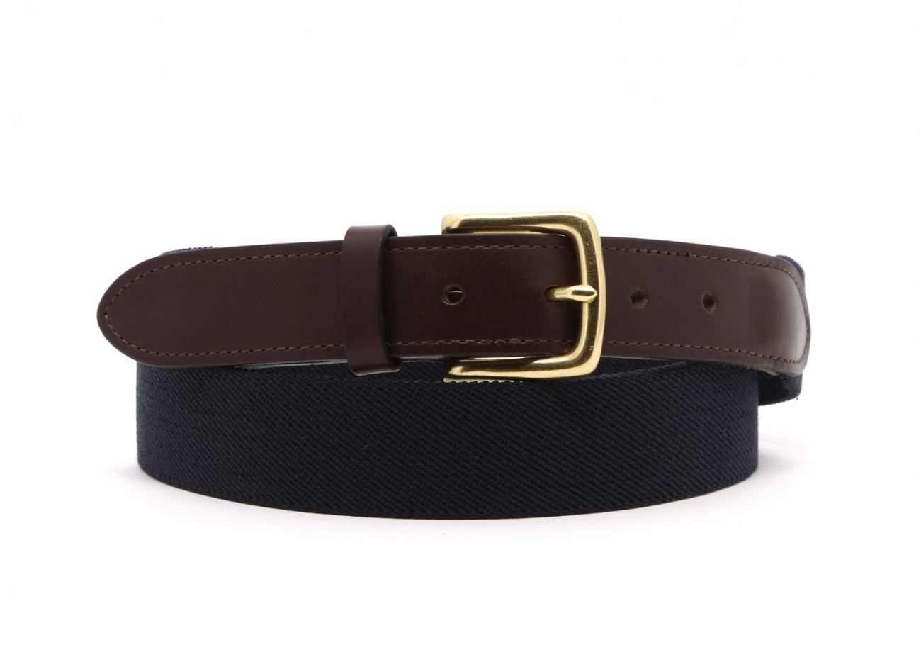Navy Elastic Belt Leather Trim1 2