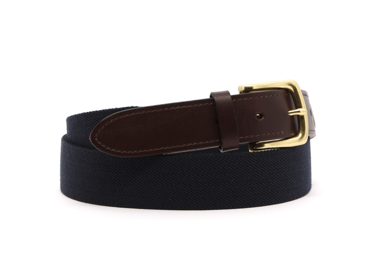 Navy Elastic Belt Leather Trim2 3