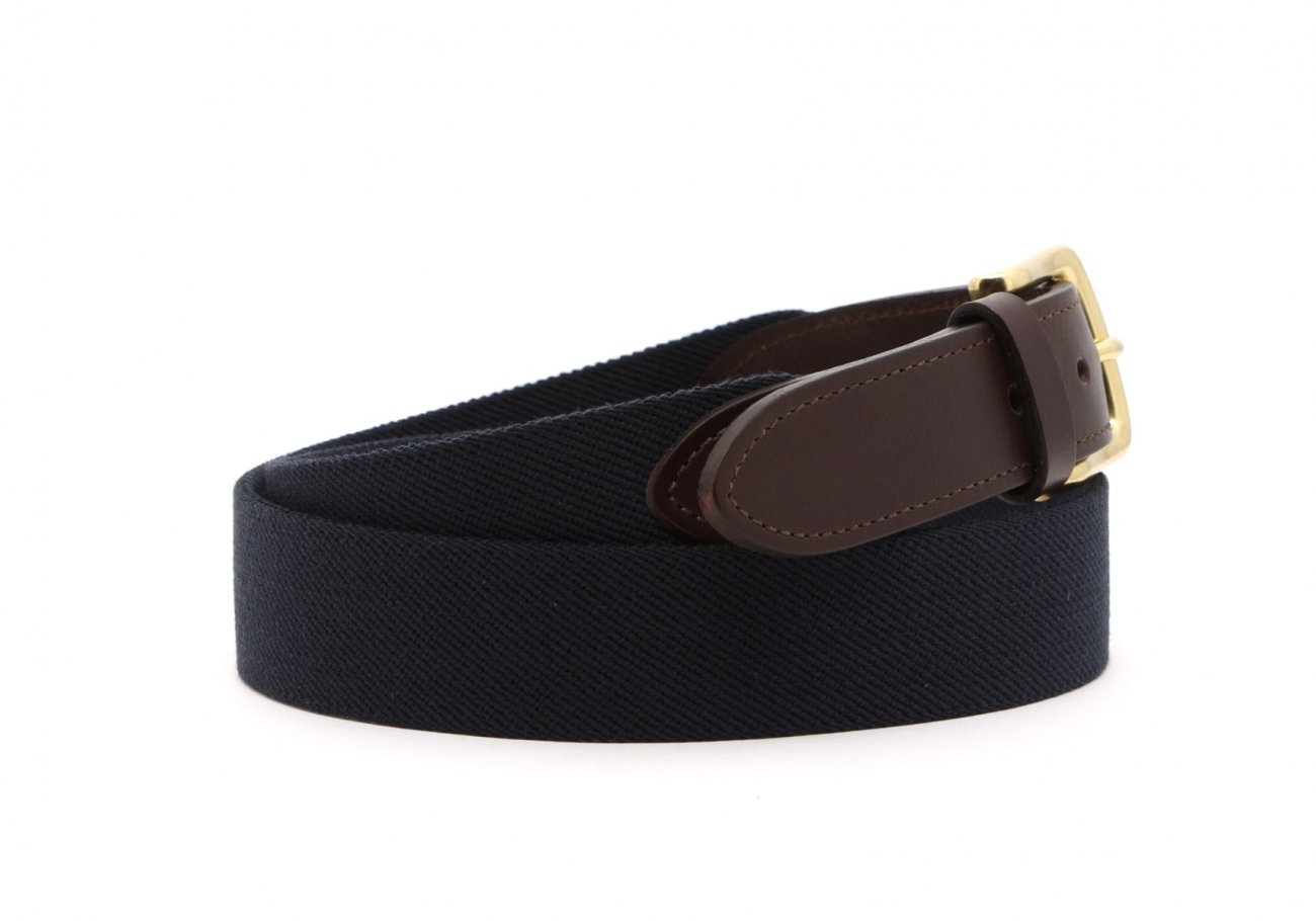 Navy Elastic Belt Leather Trim3 4