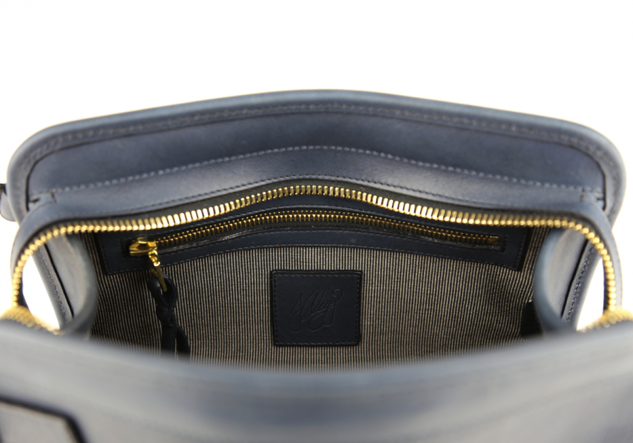 Navy Large Tumbled Leather Travel Kit Frank Clegg Made In Usa 6 2