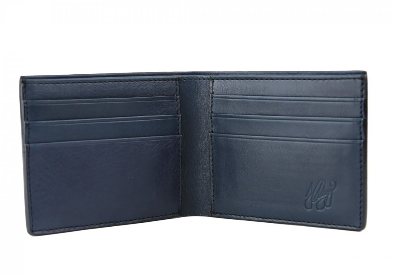 Navy Leather Bifold Wallet  Frank Clegg Made In Usa 2
