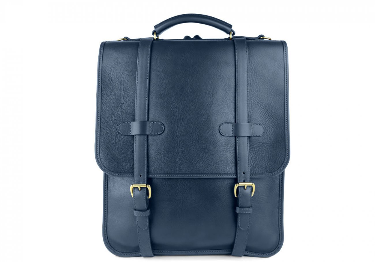 Navy Leather Buckle Backpack Frank Clegg Made In Usa 1