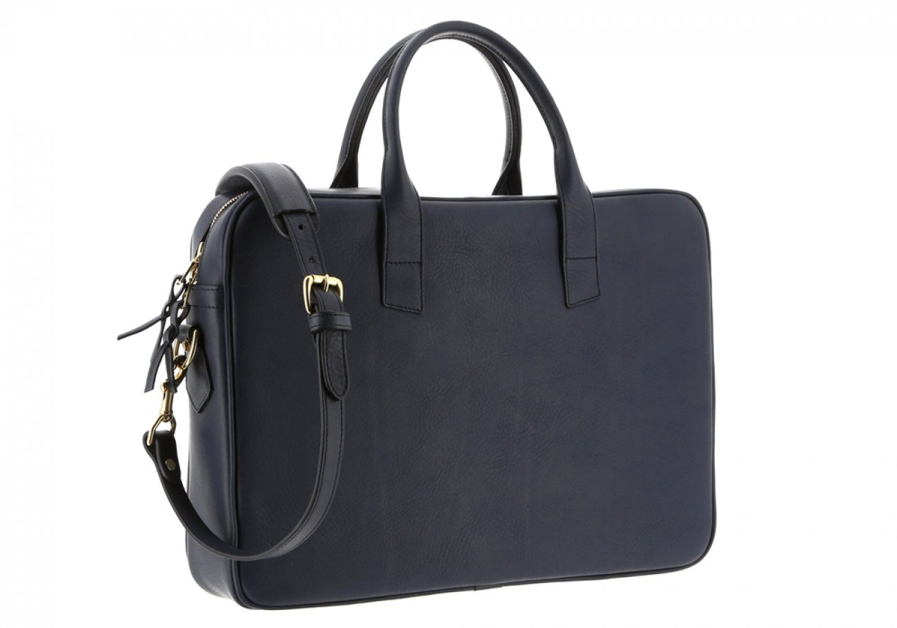 Navy Leather Computer Briefcase Frank Clegg 3