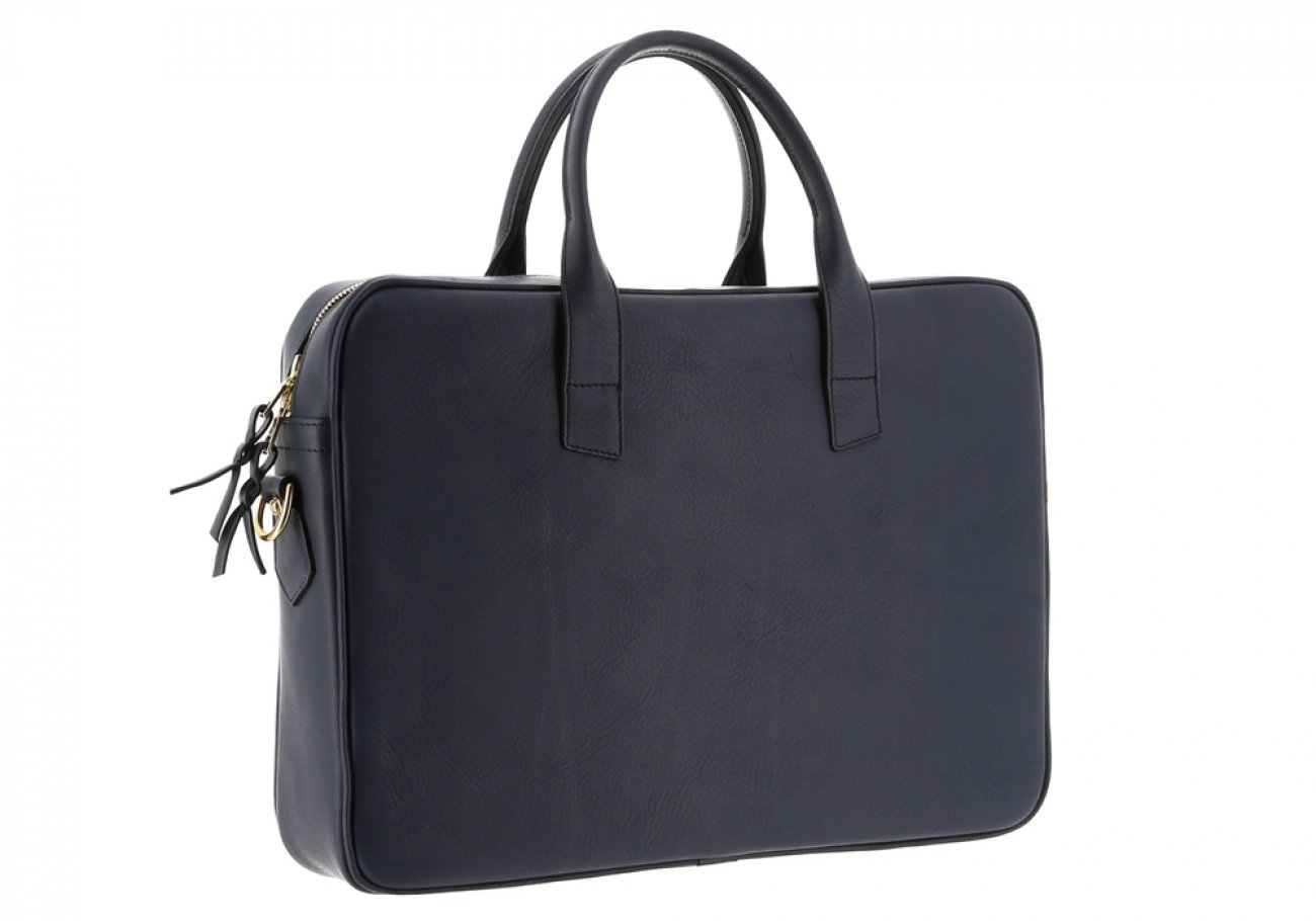 Navy Leather Computer Briefcase Frank Clegg 4