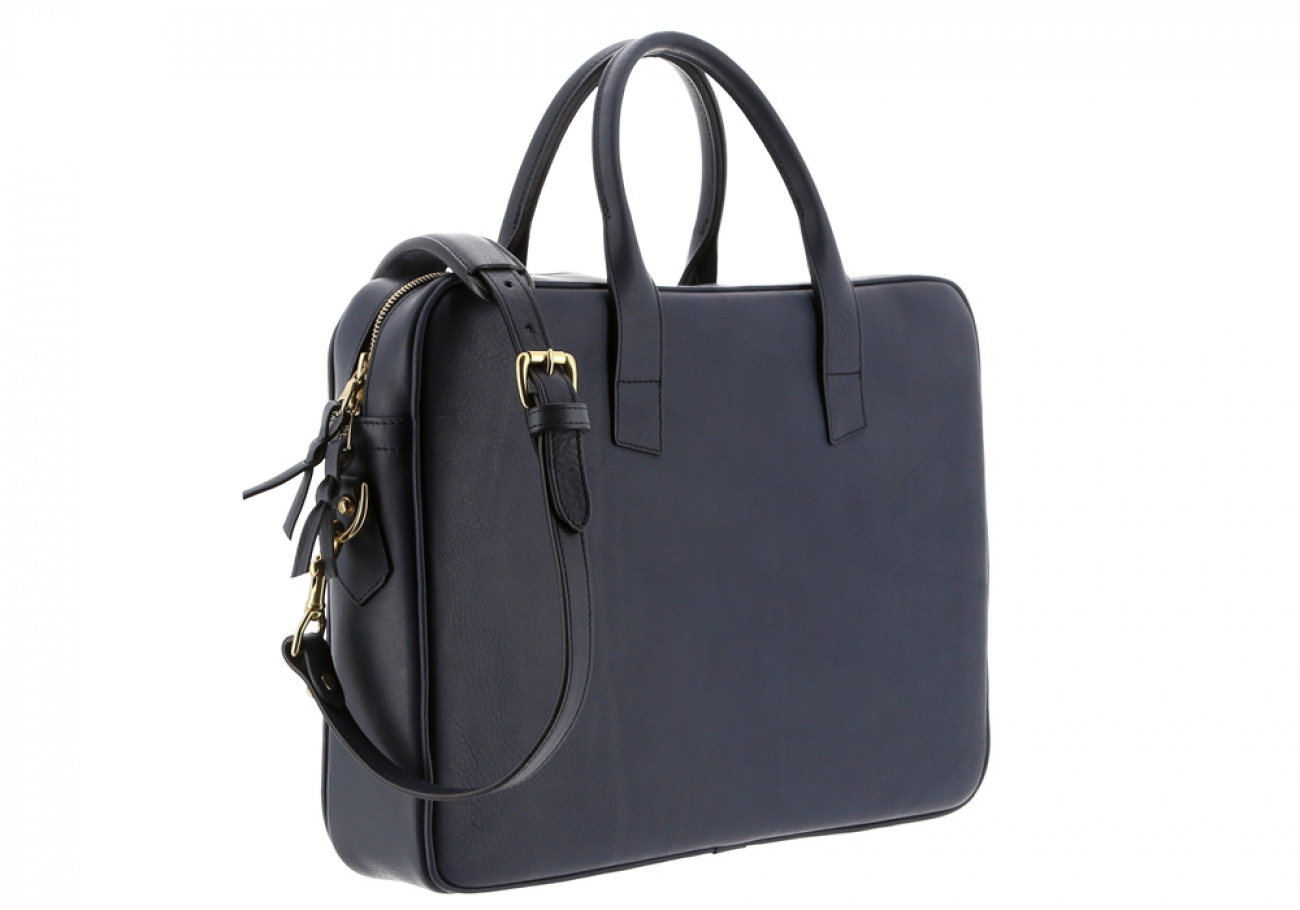 Navy Leather Computer Briefcase Frank Clegg 5
