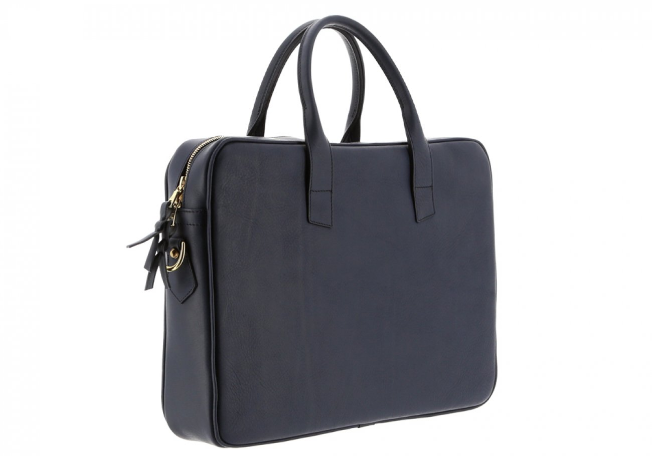 Navy Leather Computer Briefcase Frank Clegg 6
