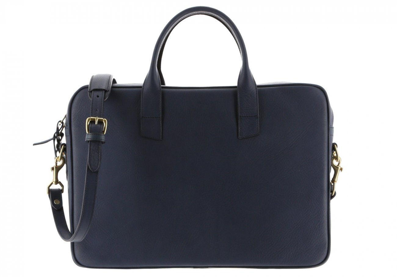 Navy Leather Computer Briefcase Frank Clegg 9 1