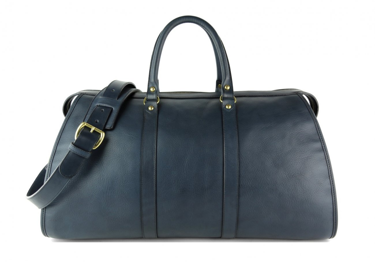 Navy Leather Duffle Bag Hampton Frank Clegg 1