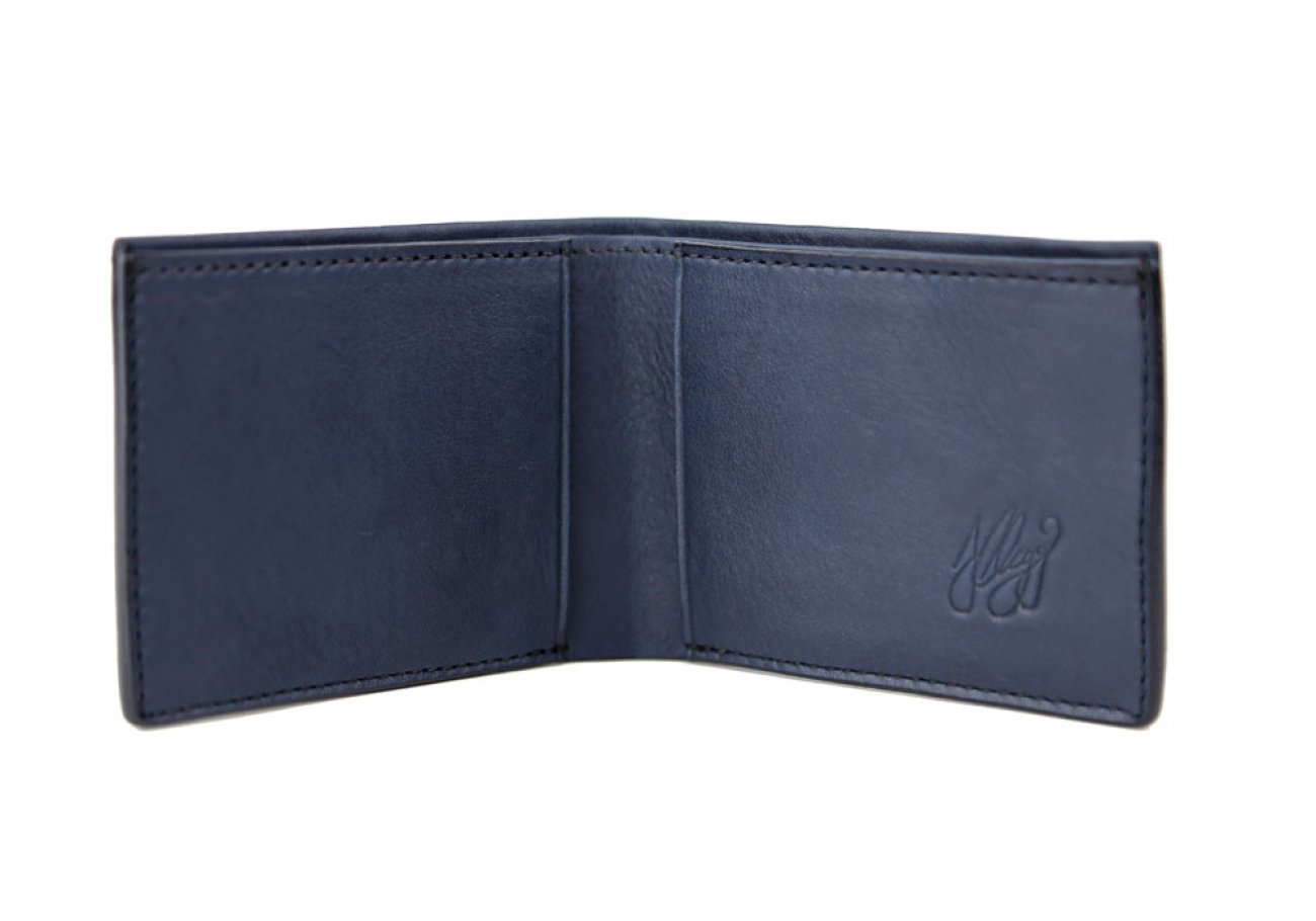 Navy Leather Slim Wallet  Frank Clegg Made In Usa 2