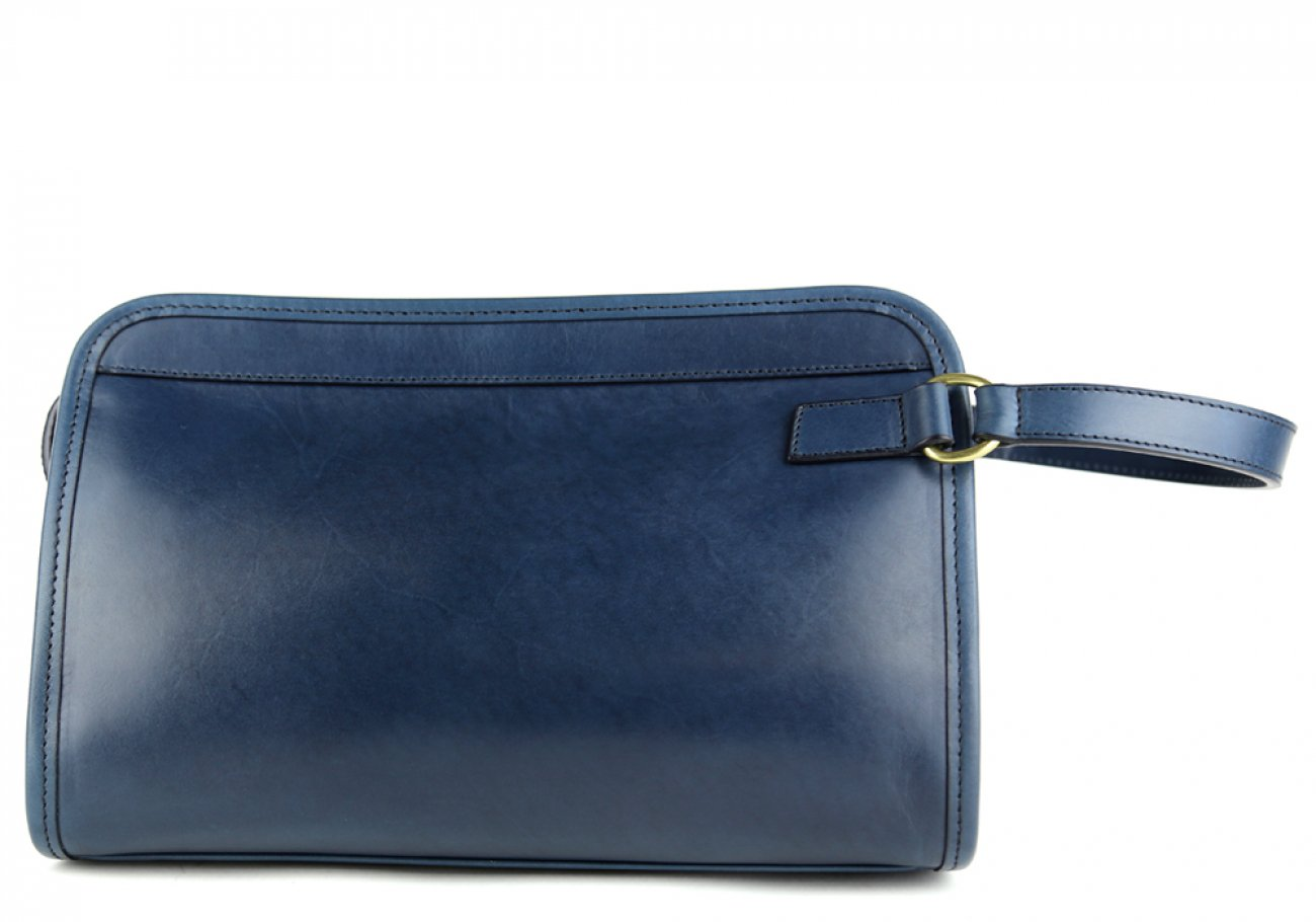 Navy Small Belting Leather Travel Kit Frank Clegg Made In Usa 1