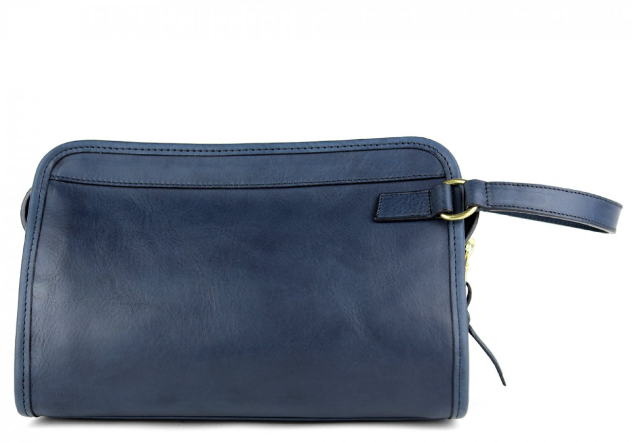Navy Small Tumbled Leather Travel Kit Frank Clegg Made In Usa 1
