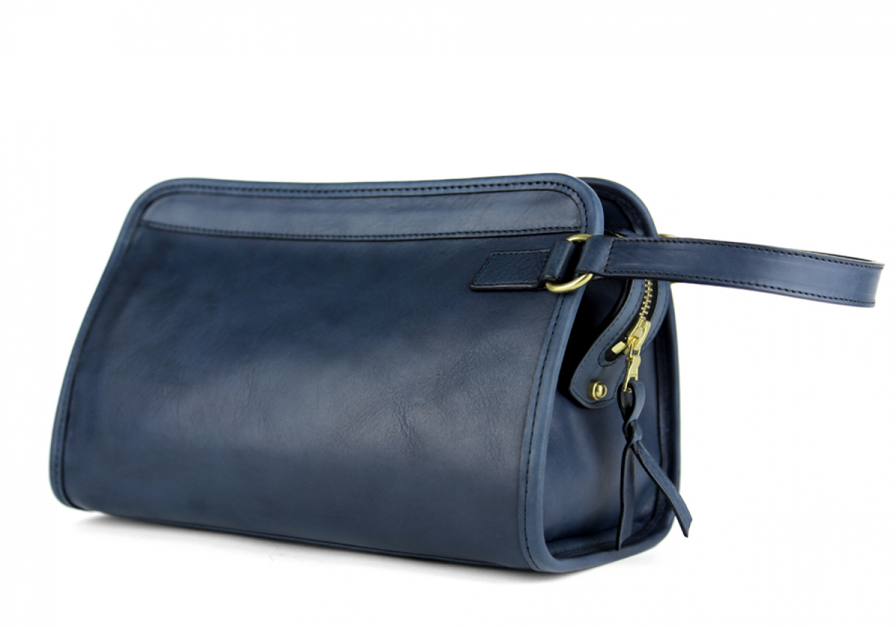 Navy Small Tumbled Leather Travel Kit Frank Clegg Made In Usa 2
