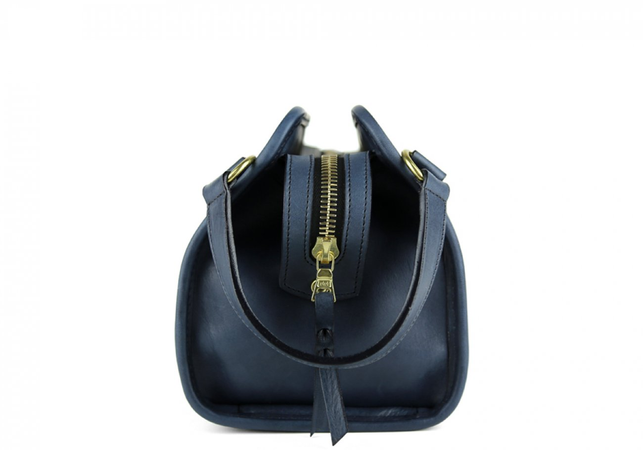 Navy Small Tumbled Leather Travel Kit Frank Clegg Made In Usa 3