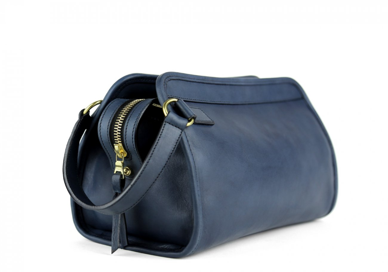 Navy Small Tumbled Leather Travel Kit Frank Clegg Made In Usa 4
