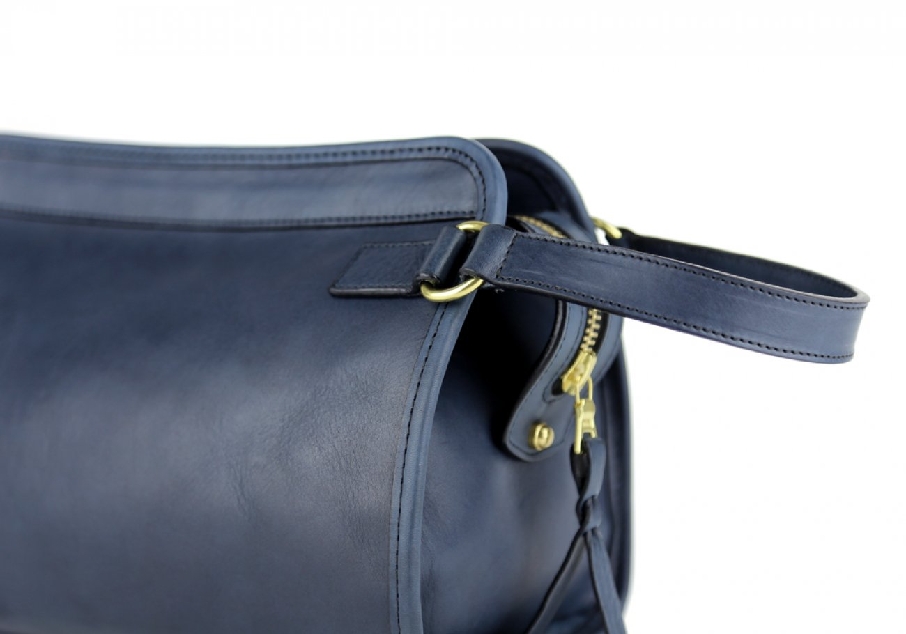 Navy Small Tumbled Leather Travel Kit Frank Clegg Made In Usa 5