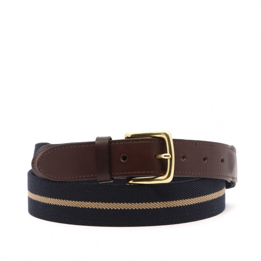 Navy With Khaki Stripe Elastic Belt Leather Trim