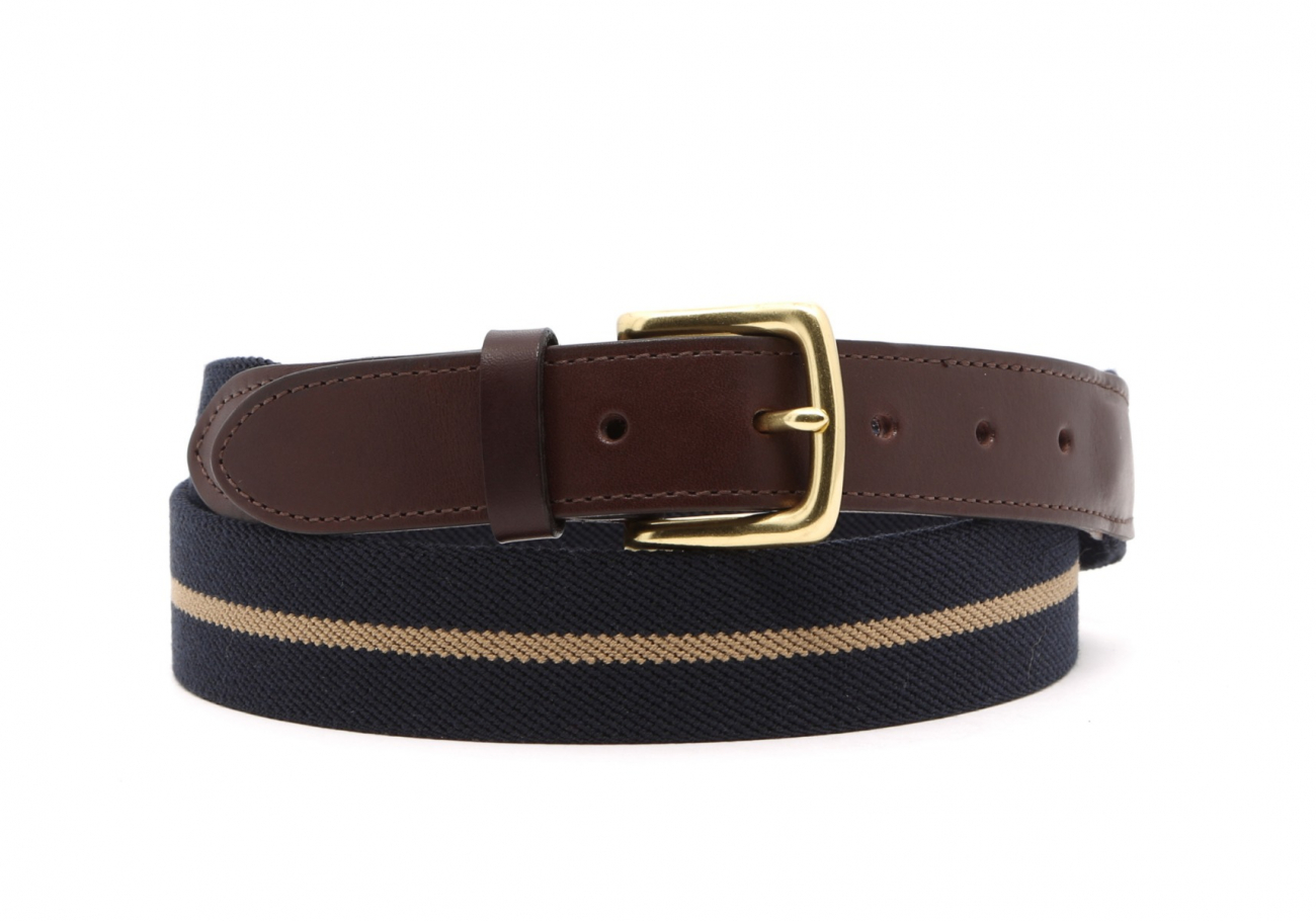 Navy With Khaki Stripe Elastic Belt Leather Trim1 1