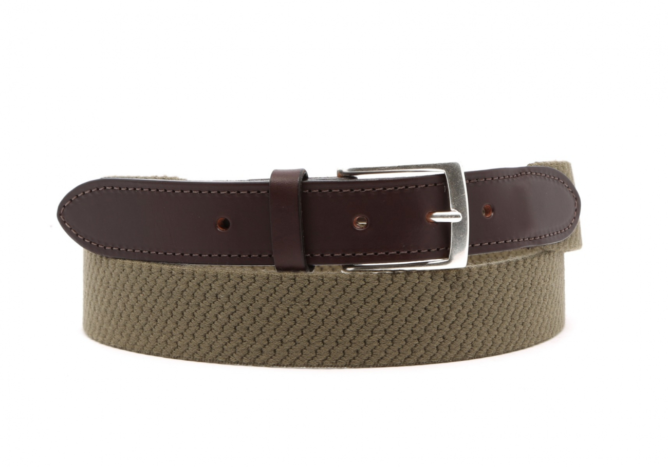 Olive Woven Elastic Wool Belt Leather Trim1