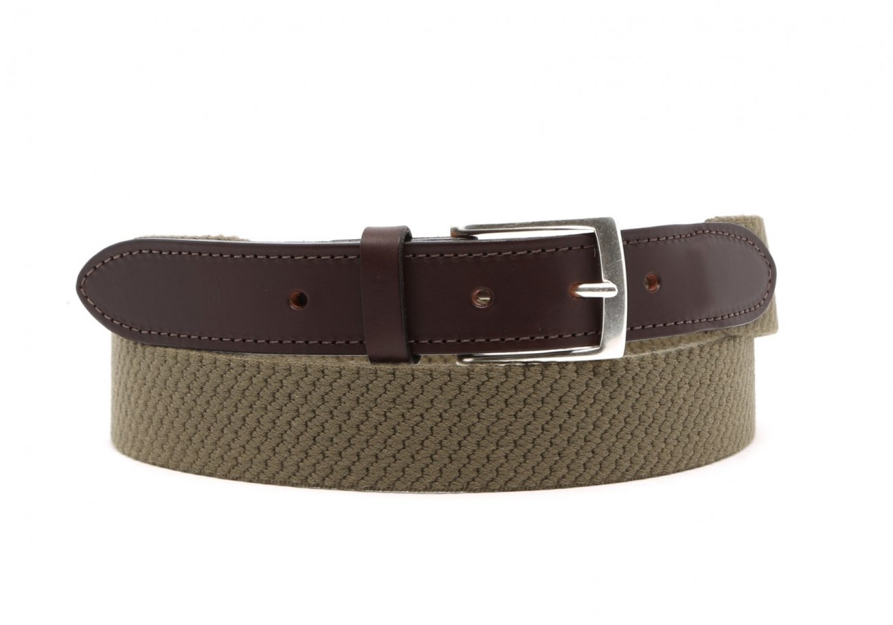 Olive Woven Elastic Wool Belt Leather Trim1 1