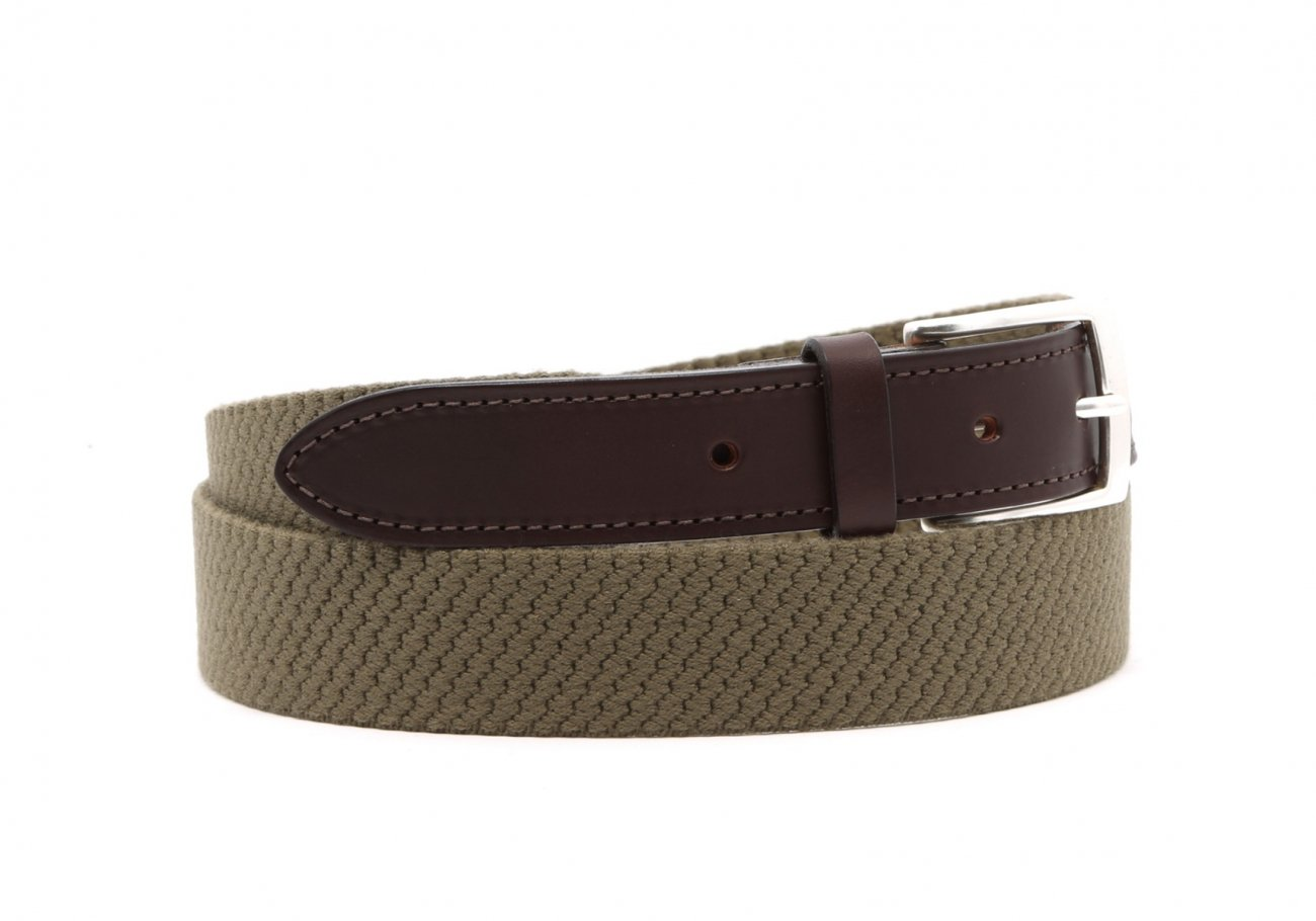 Olive Woven Elastic Wool Belt Leather Trim2 6