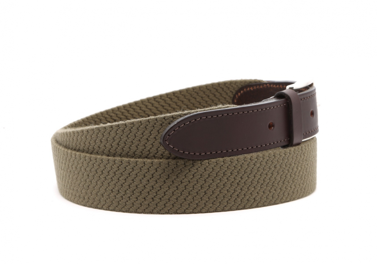 Olive Woven Elastic Wool Belt Leather Trim3 6