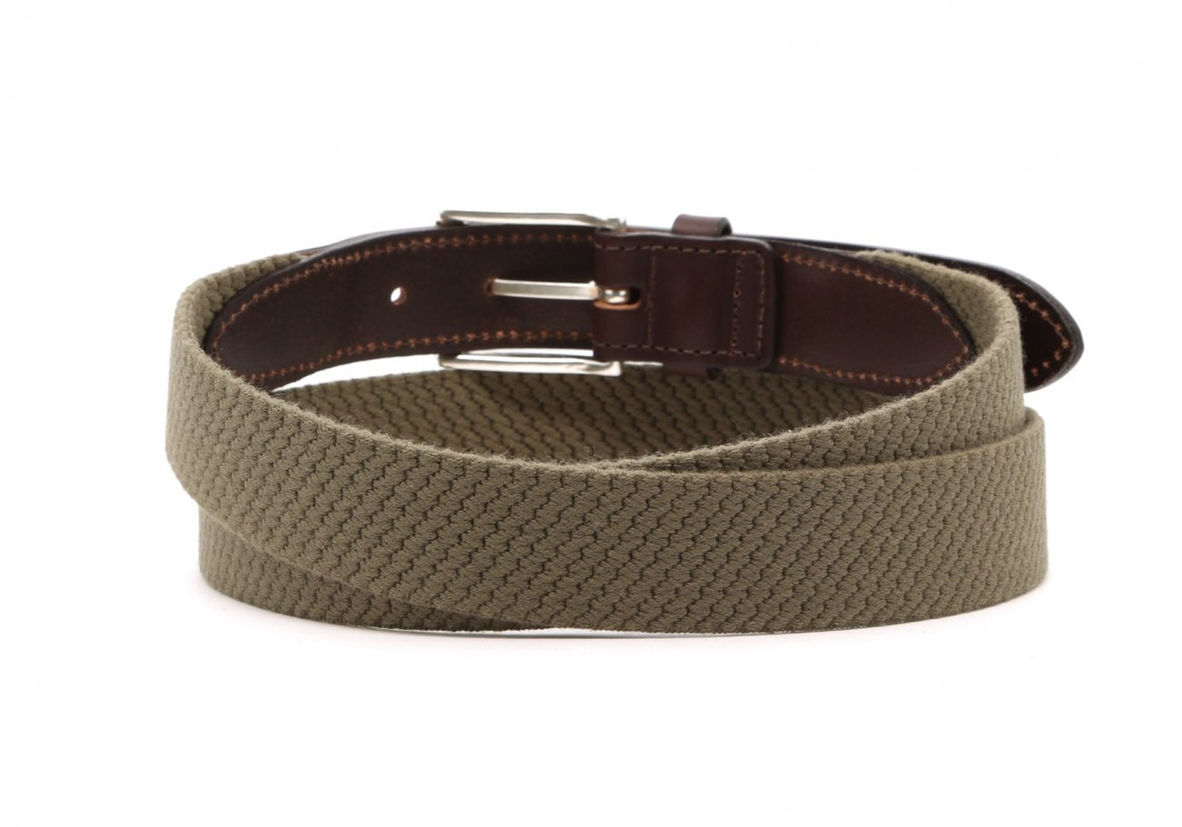 Olive Woven Elastic Wool Belt Leather Trim4 6