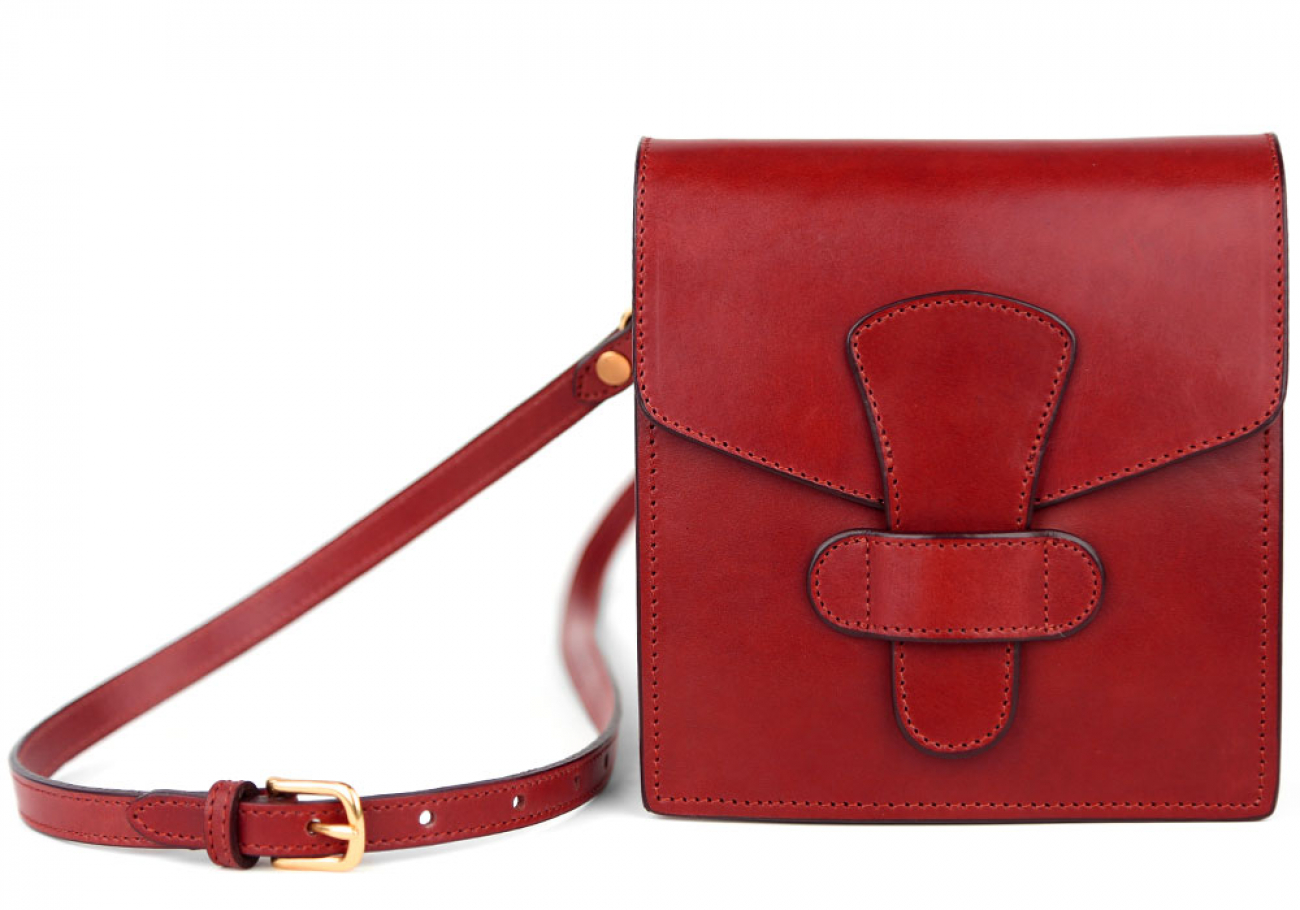 Red Adelie Closure Satchel Frank Clegg Made In Usa 1