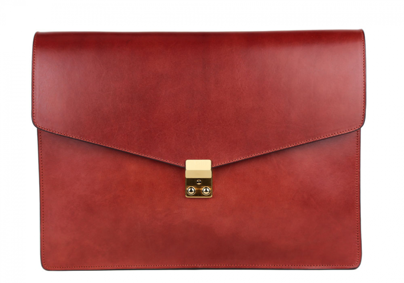 Red Harness Belting 15  Leather Lock Portfolio Case Frank Clegg Made In Usa 1