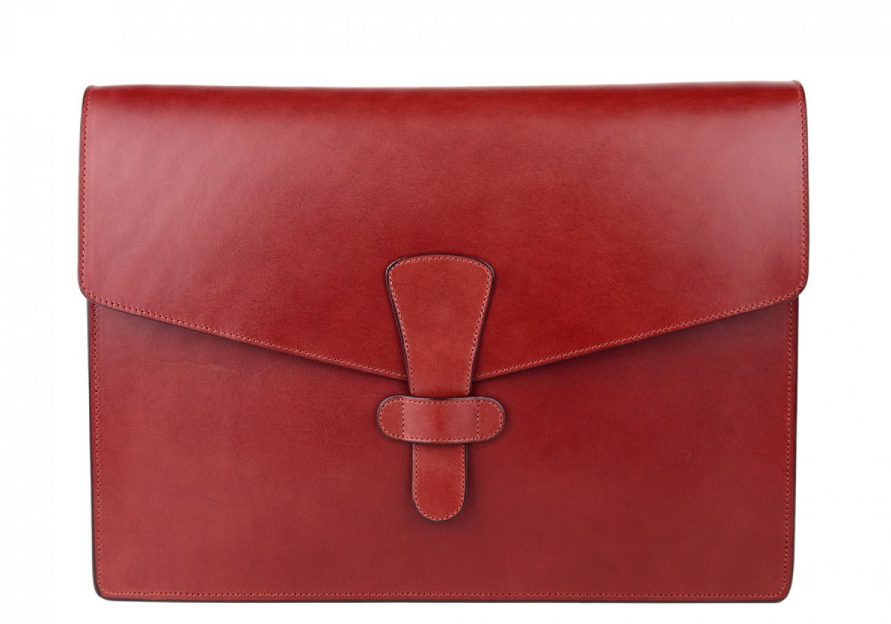 Red Harness Belting 15  Leather Portfolio Case Frank Clegg Made In Usa 1