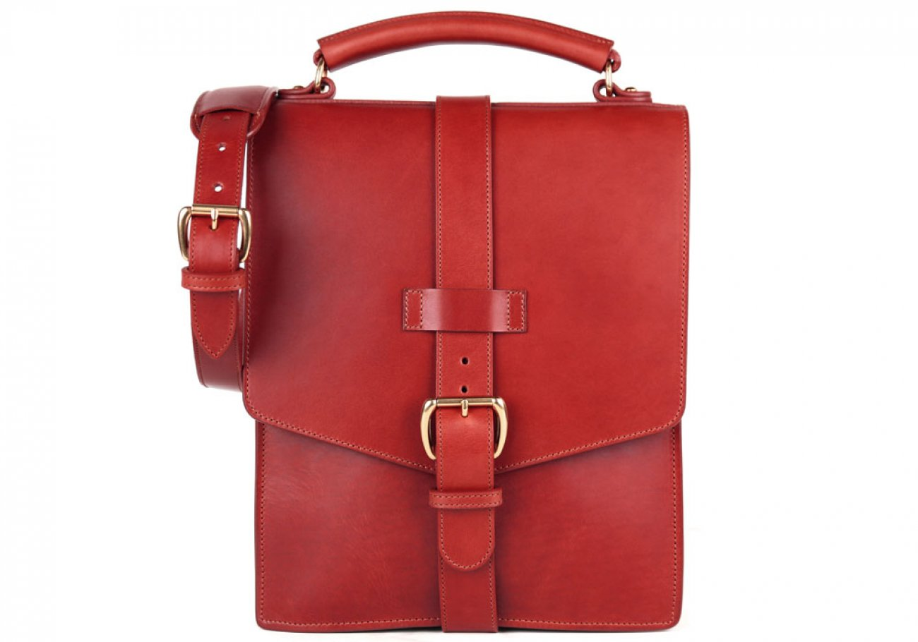 Red Harness Belting Leather Buckle Satchel Frank Clegg Made In Usa 1