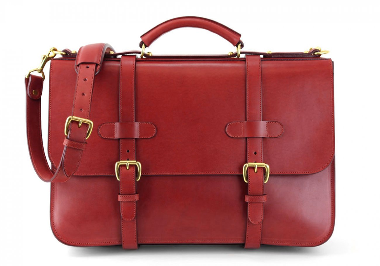 Red Harness Belting Leather English Briefcase Frank Clegg Made In Usa 1 1
