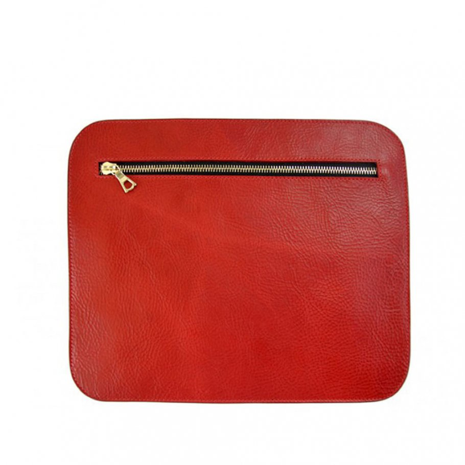 Red Large Leather Zipper Pencil Case Clutch Frank Clegg Made In Usa 1 Raw 2