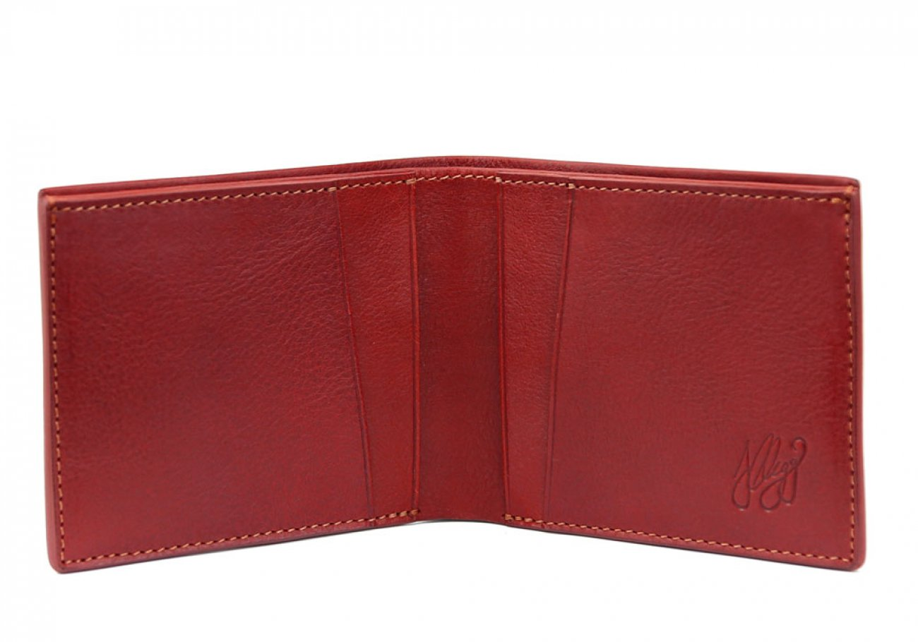 Red Leather Bifold Wallet  Frank Clegg Made In Usa 1