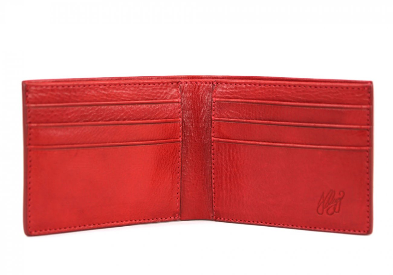 Red Leather Bifold Wallet  Frank Clegg Made In Usa 3