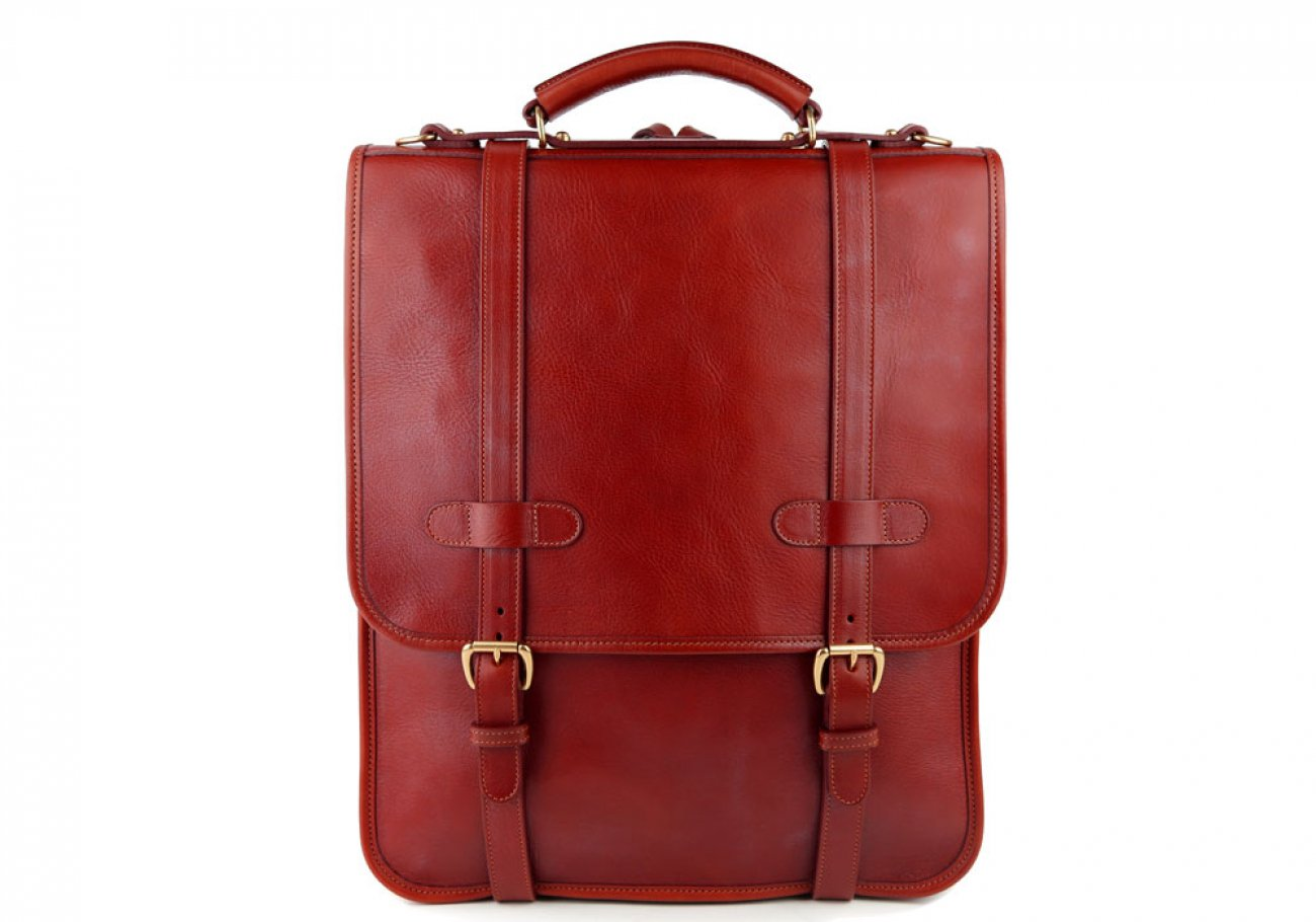 Red Leather Buckle Backpack Frank Clegg Made In Usa 1