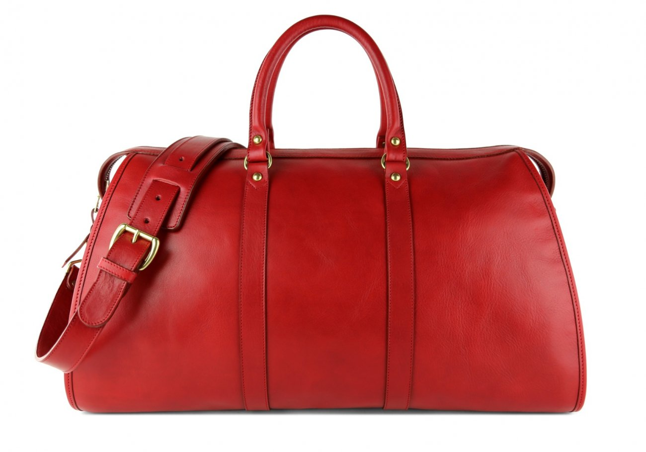 Red Leather Duffle Bag Hampton Frank Clegg 1