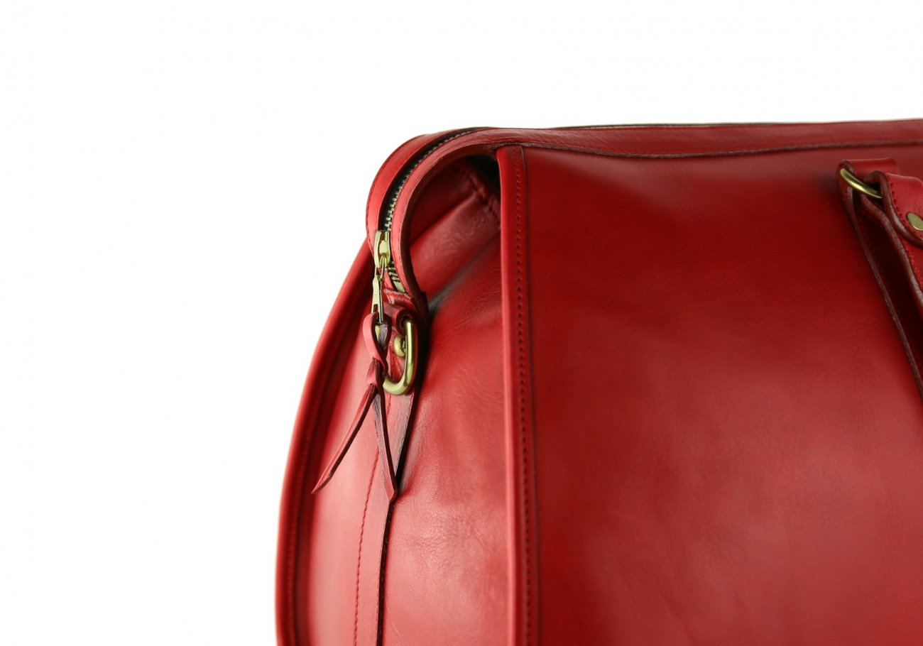 Red Leather Duffle Bag Hampton Frank Clegg 10