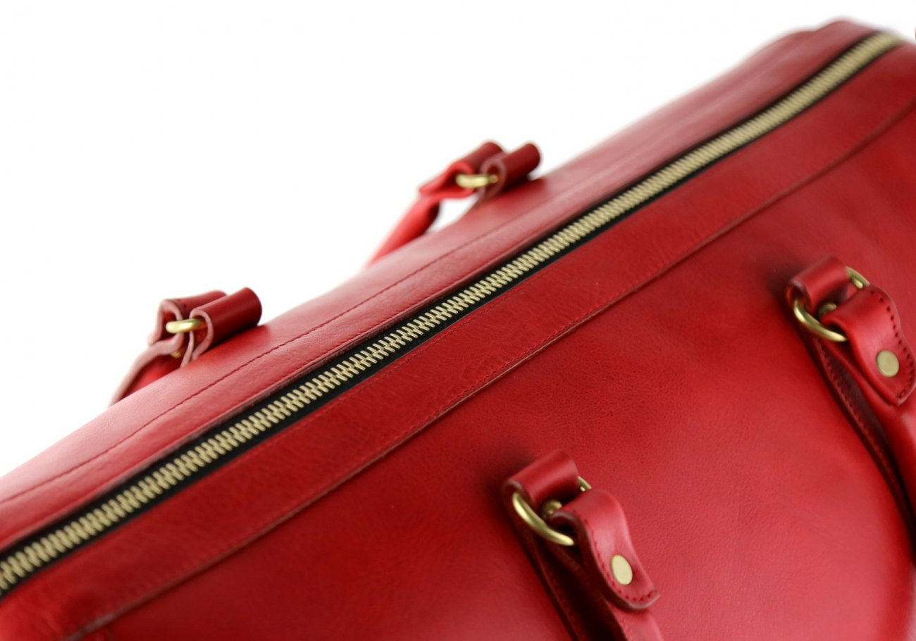 Red Leather Duffle Bag Hampton Frank Clegg 5