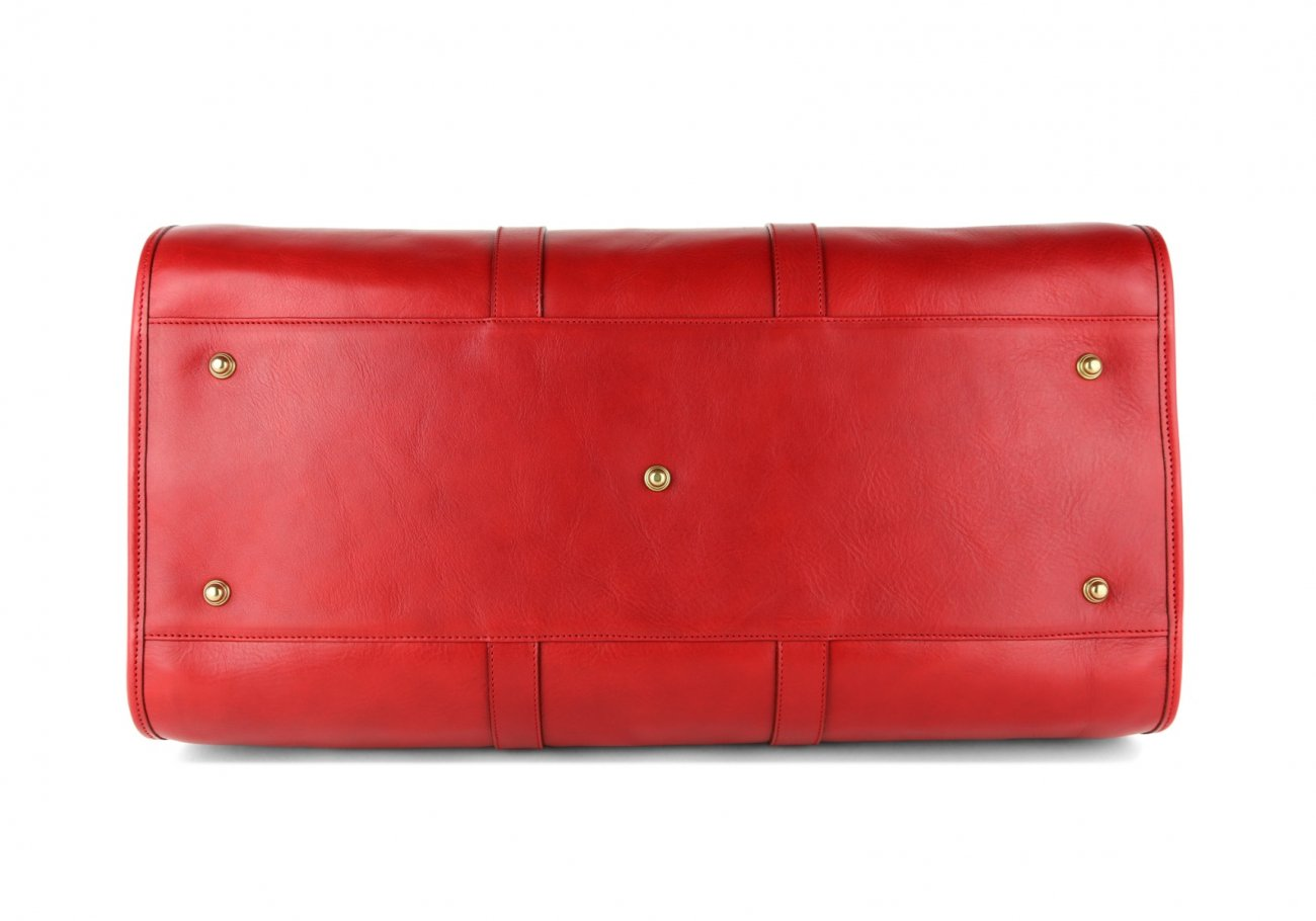 Red Leather Duffle Bag Hampton Frank Clegg 6