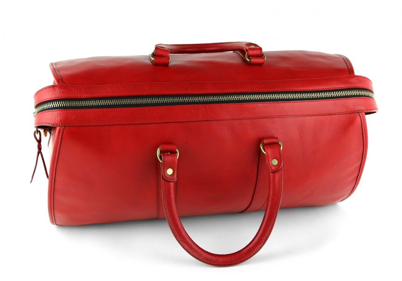 Red Leather Duffle Bag Hampton Frank Clegg 7
