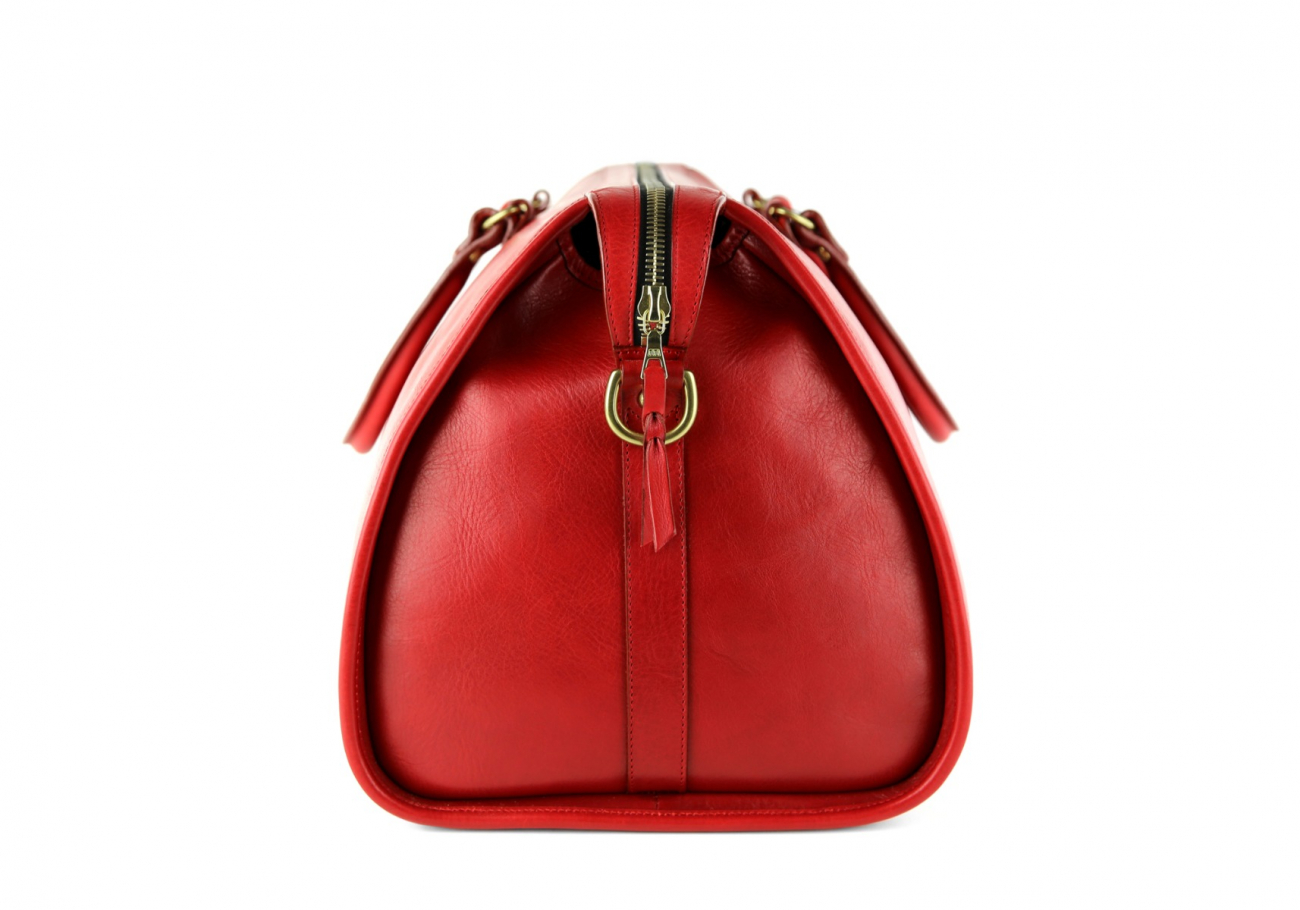Red Leather Duffle Bag Hampton Frank Clegg 8
