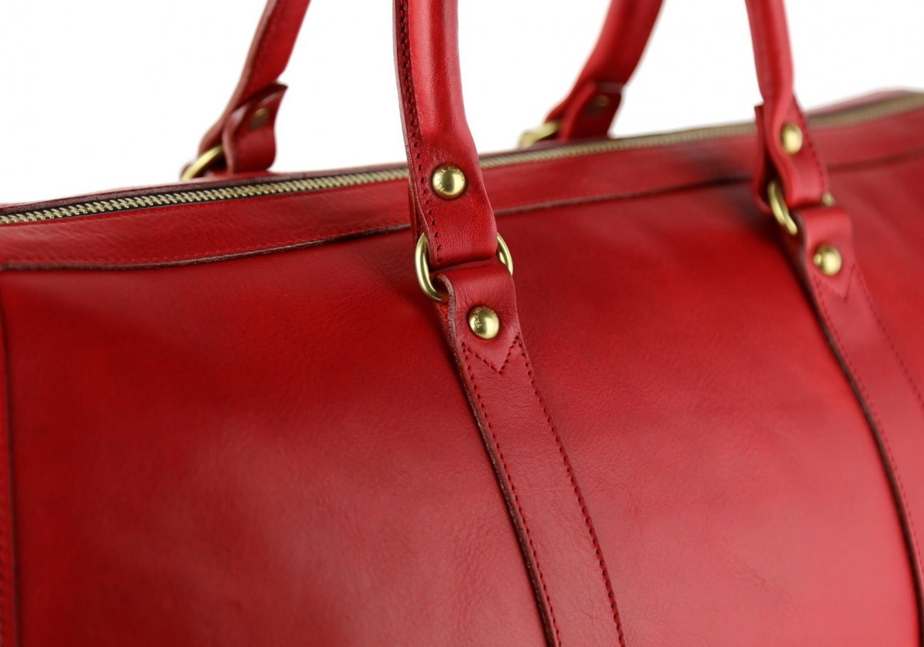 Red Leather Duffle Bag Hampton Frank Clegg 9