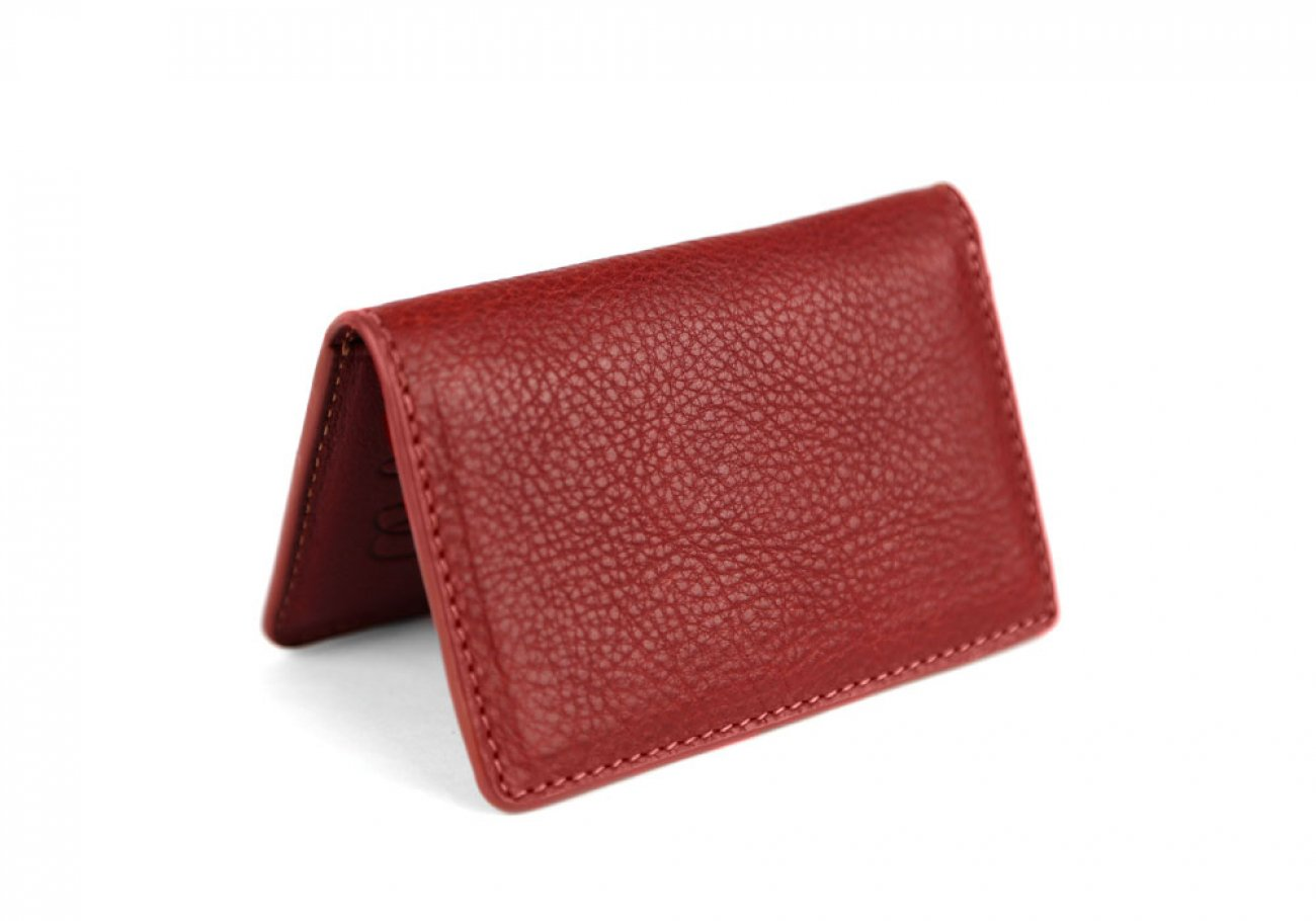 Red Leather Folding Card Wallet Frank Clegg Made In Usa 1
