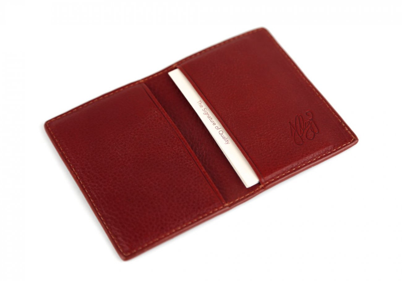 Red Leather Folding Card Wallet Frank Clegg Made In Usa 2