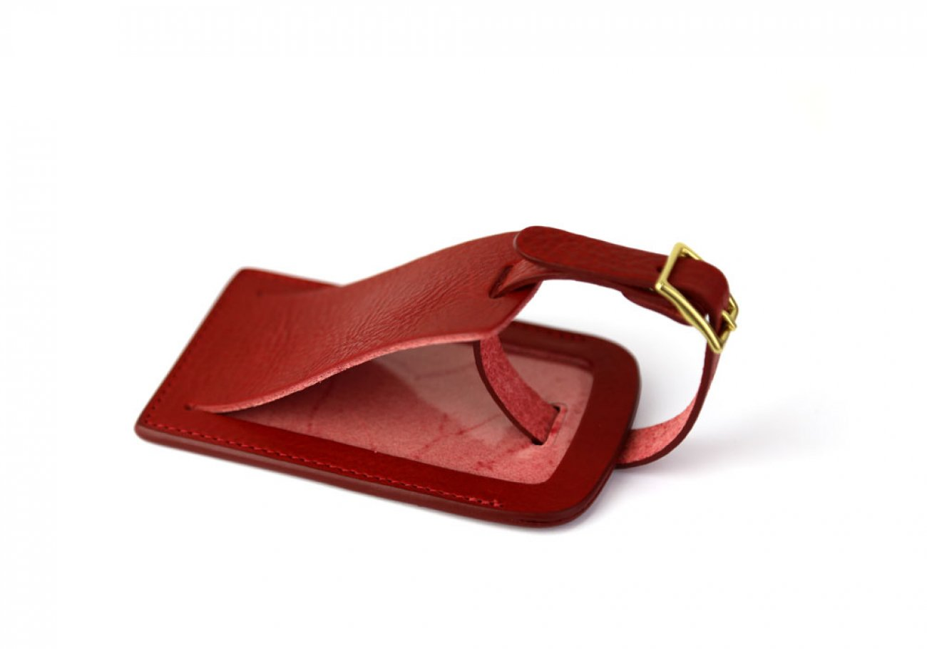Red Leather Luggage Tag Frank Clegg Made In Usa 1
