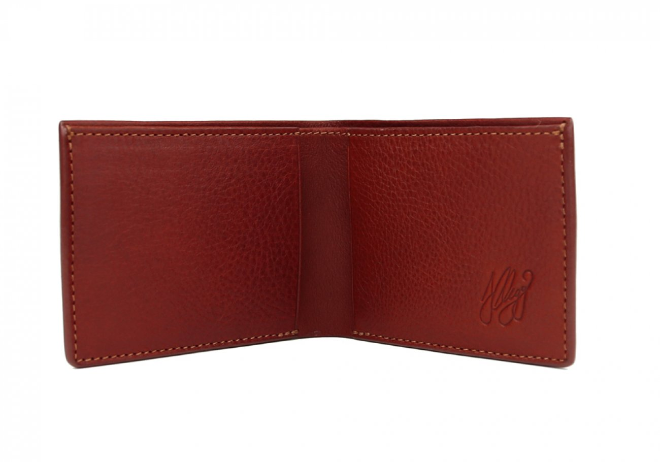 Red Leather Slim Wallet  Frank Clegg Made In Usa 2